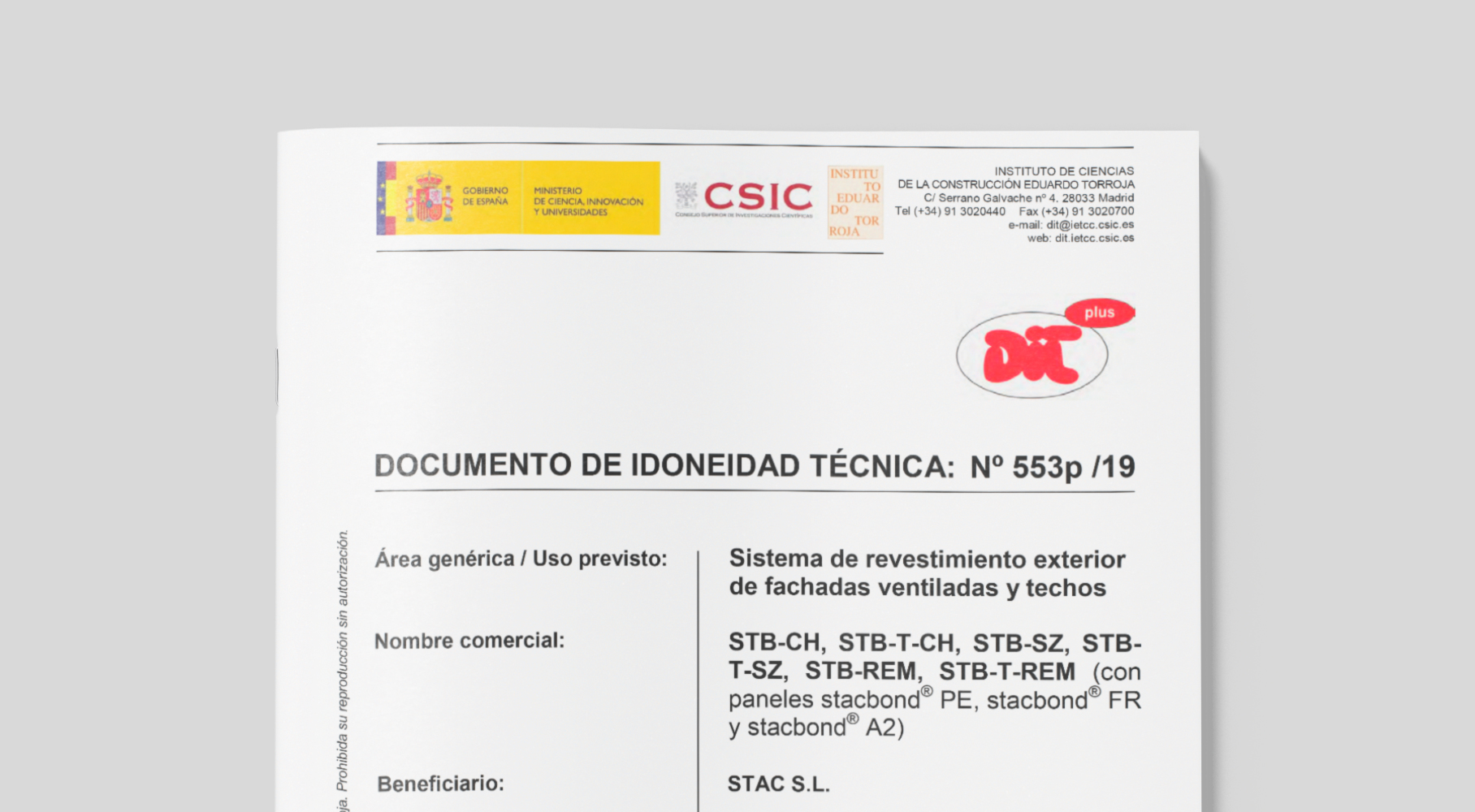 STACBOND renueva certificación DIT Plus